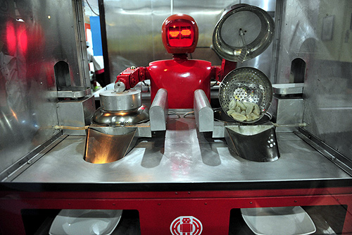 "A robot that specialises in cooking, prepares ""jiaozi"","