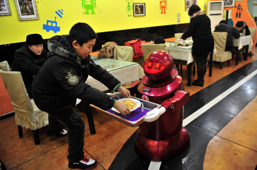 A robot that specialises in delivering food serves