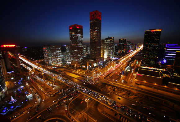 A view of the city skyline from the Zhongfu Building at night in Beijing