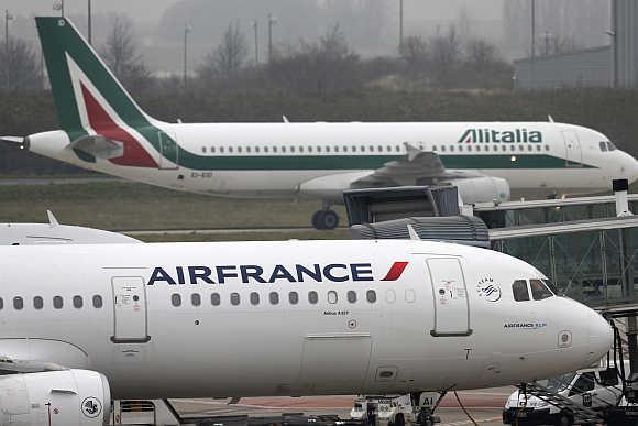 An Air France plane on the tarmac at Charles de Gaulles International Airport in Roissy near Paris.