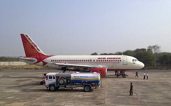 An Air India A320 aircraft refuels in Gwalior.