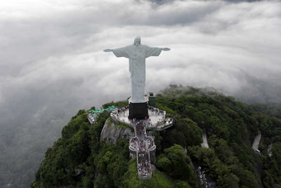 An aerial view of the famous Christ the Redeemer