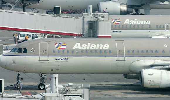 Asiana Airline's planes at Kimpo airport in Seoul.