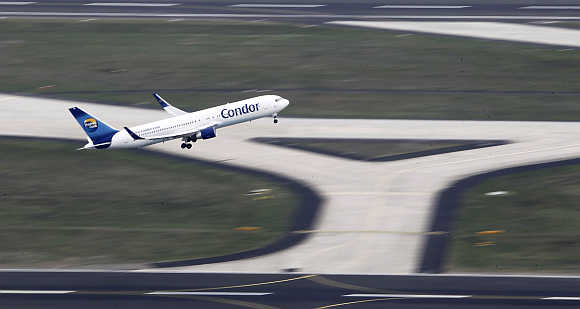 A Condor plane in Frankfurt's airport, Germany.