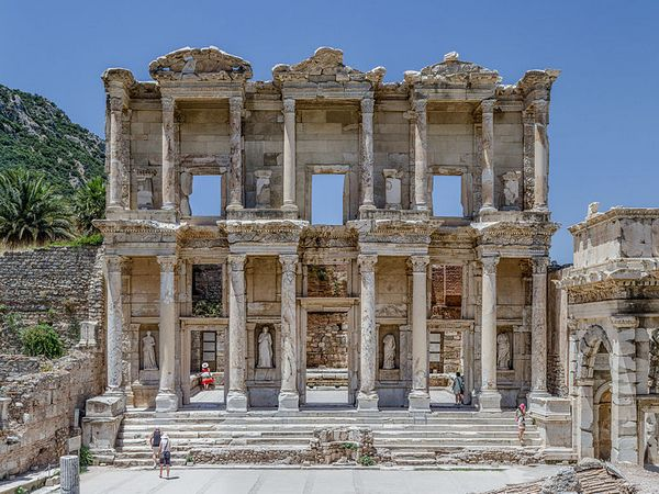 Facade of the Celsus library, in Ephesus, near Selcuk, west Turkey