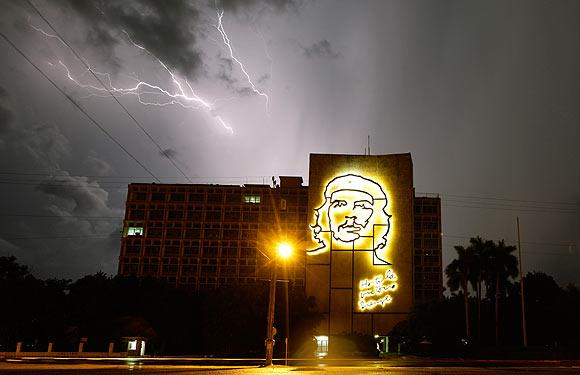 Fork lightning lights up the sky during a storm