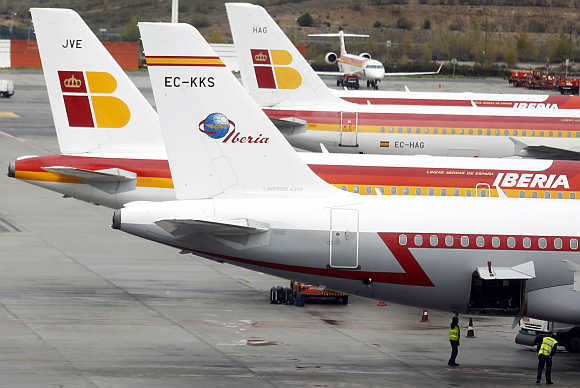 Iberian planes parked at Madrid's Barajas airport, Spain.