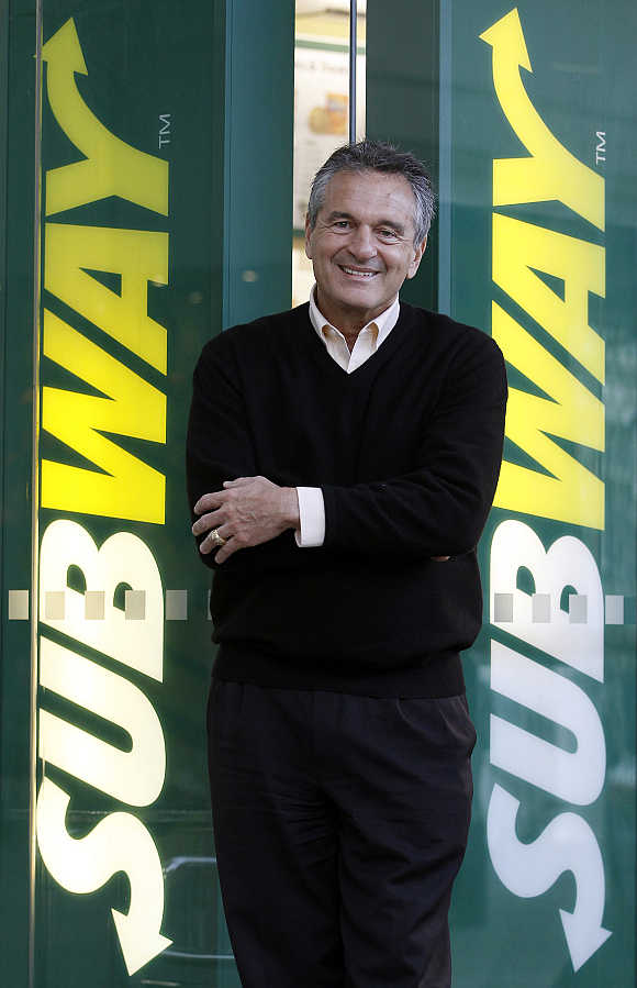Subway founder Fred DeLuca poses at a branch in central London, United Kingdom.