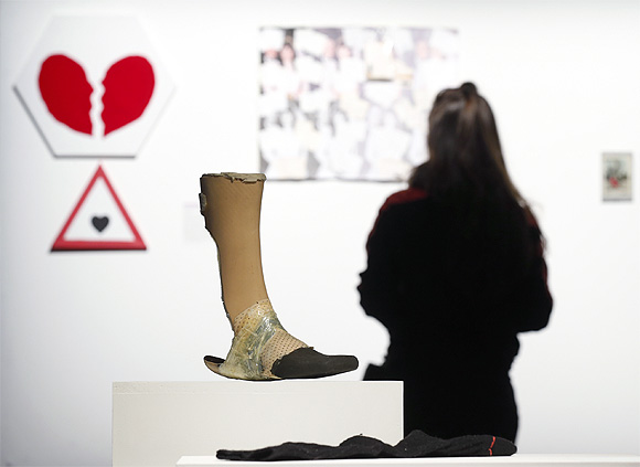 A prosthetic knee is displayed at the Museum of Broken Relationships installed at the CentQuatre exhibition hall in Paris.