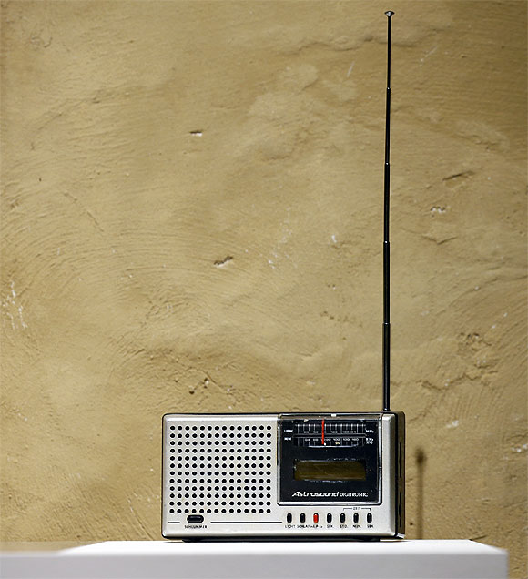 A transistor radio stands as a solitary reminder of a time gone by.