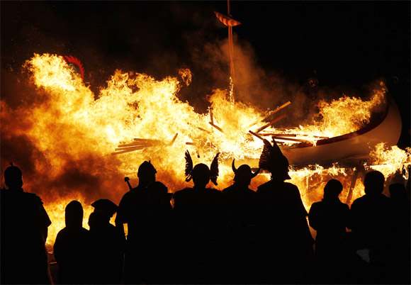 The Up Helly Aa festival, introduced by men returning