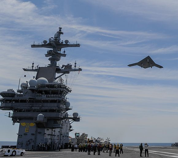An X-47B Unmanned Combat Air System demonstrator launches