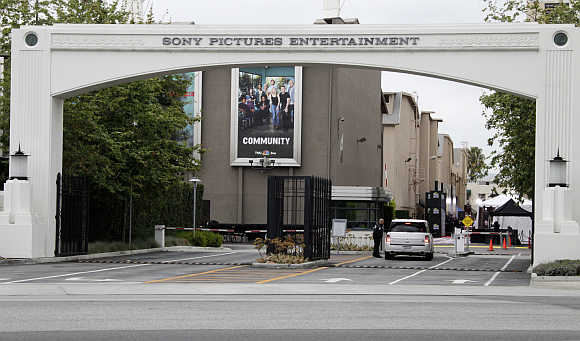 Entrance gate to Sony Pictures Entertainment at the Sony Pictures lot in Culver City, California.