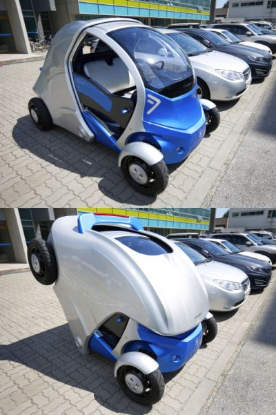 A combination photo shows Armadillo-T, a foldable electric vehicle.