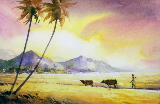 Awesome Water Color Painting Art by Elayaraja from Chennai, India1