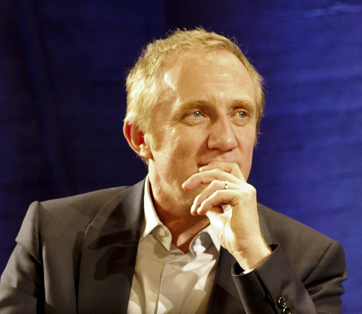 Francois, left, with his son Francois-Henri Pinault, right, in Rennes, France